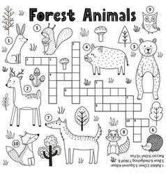 Black and white crossword for kids with forest vector