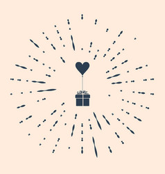 Black gift with balloon in shape heart icon vector