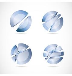 Blue abstract circle sphere set logo vector image