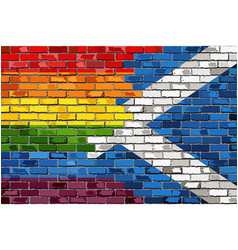 brick wall scotland and gay flags vector image