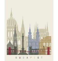 budapest skyline poster vector image