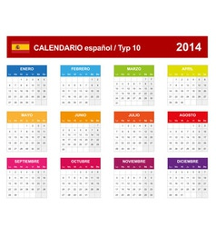 Calendar 2014 Spain Type 10 vector image