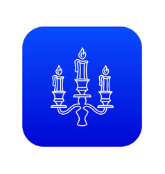 Candelabra candle icon blue vector