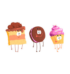 cartoon dessert characters isolated on white vector image
