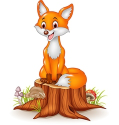 Cartoon happy fox sitting on tree stump vector