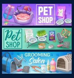 cat pet care banners pet shop supplies vector image