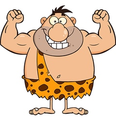 Caveman Cartoon Flexing vector