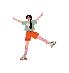 Cheerful young woman showing hairy legs female vector