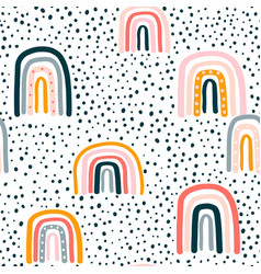 childish seamless pattern with hand drawn rainbow vector image