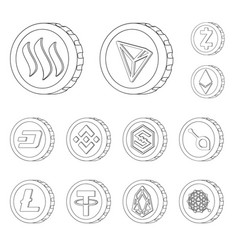 cryptocurrency and coin vector image