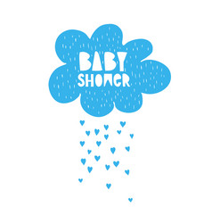 cute hand drawn baby shower blue cloud vector image