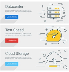 Datacenter Test Speed Cloud Storage Line Art Flat vector