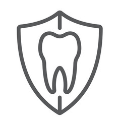 Dental protection line icon stomatology vector
