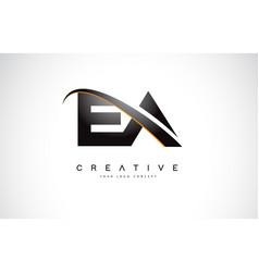 Ea e a swoosh letter logo design with modern vector