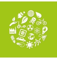 ecology icons in circle vector image