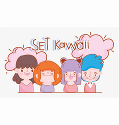 emojis kawaii cartoon faces set girls and boys vector image