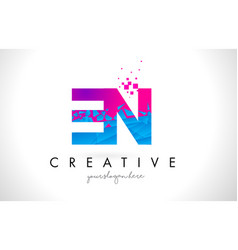 en e n letter logo with shattered broken blue vector image