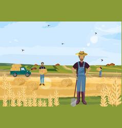 Farmers working hay fields flat styles vector