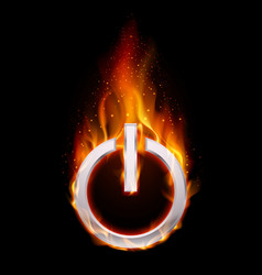 Fiery power button on black background for design vector