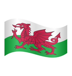 Flag of wales waving on white background vector