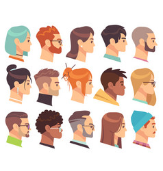 flat heads in profile different human heads male vector image