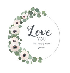 Floral design card with white light pink anemone vector