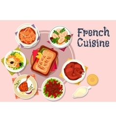 French cuisine dishes for restaurant menu design vector