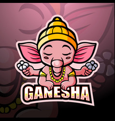 Ganesha mascot esport logo design vector