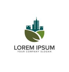 green building logo real estate logo design vector image