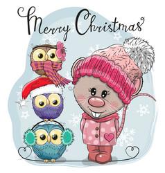 Greeting christmas card cute rat and three owls vector
