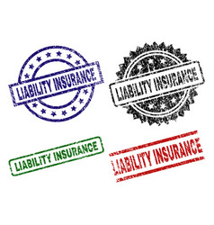 Grunge textured liability insurance stamp seals vector