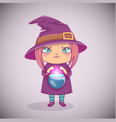 halloween little witch girl kid with angry face vector image
