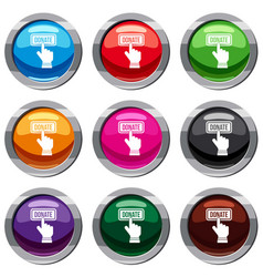 Hand presses button to donate set 9 collection vector