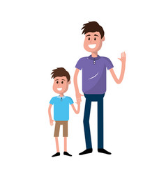 Happy man with his son holding hand vector