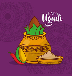 Happy ugadi poster indian fest celebration vector