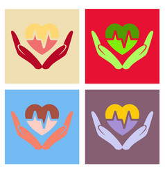 Heart icon in love hands with cardio line vector