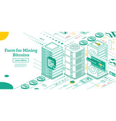 isometric farm for mining bitcoins vector image