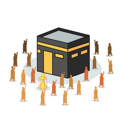 Isometric kaaba surrounded by hajj pilgrimage vector