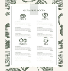 japanese food - vintage hand drawn template menu vector image
