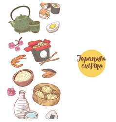 japanese hand drawn food design japan cuisine vector image