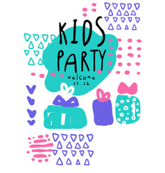 kids party colorful template with date an be used vector image