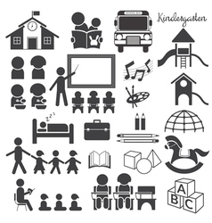 Kindergarten Preschool Mono Icons Set vector image