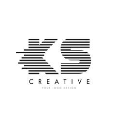 ks k s zebra letter logo design with black and vector image