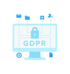 laptop with letter gdpr on screen vector image