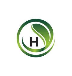 leaf initial h logo design template vector image