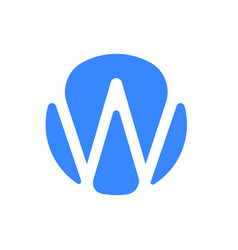 letter w logo modern blue font icon vector image