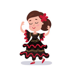 Little girl wearing red and black dress national vector
