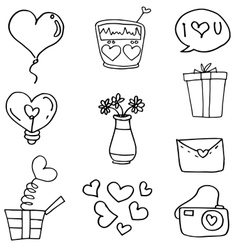 Love theme doodles vector