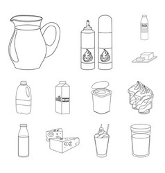 milk product outline icons in set collection for vector image