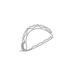 one single line drawing fresh mexican taco vector image